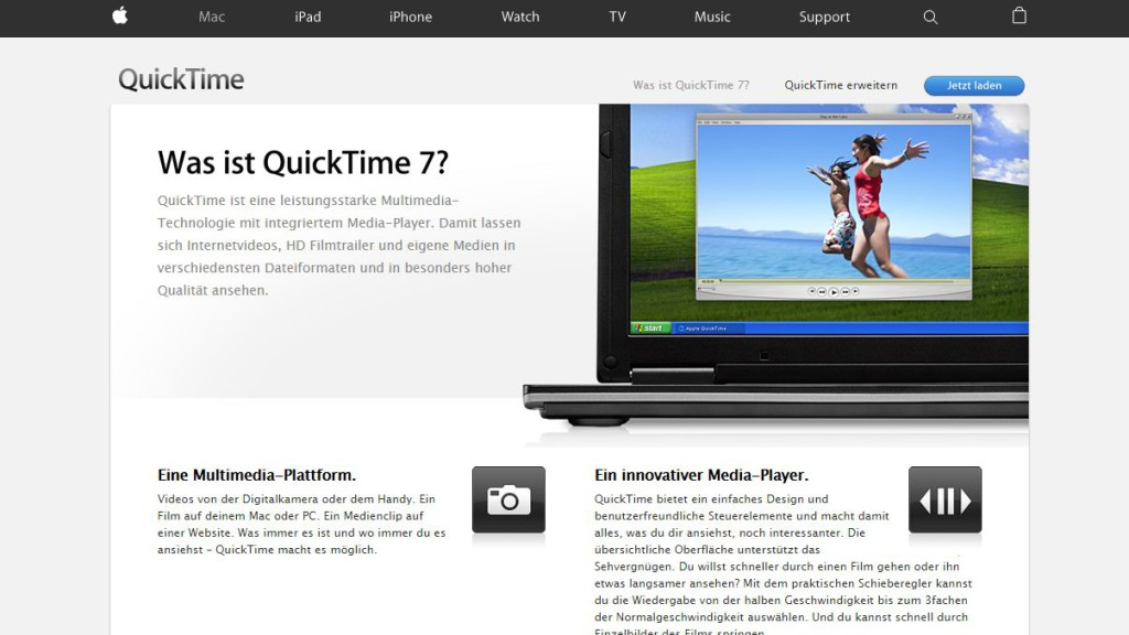 Screenshot von der Apple-Website