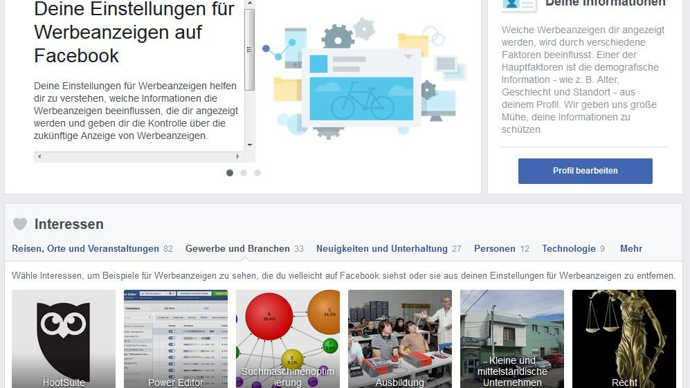 Screenshot von der Facebook-Seite www.facebook.com/ads/preferences