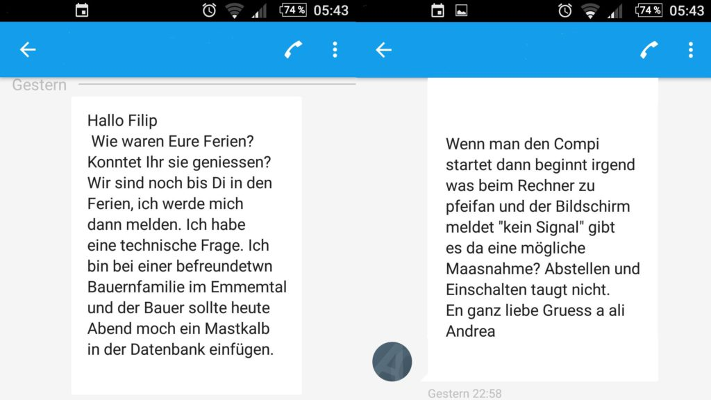 Screenshot von Handy