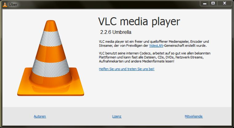 "Screenshot des ""Über""-Fensters des VLC-Players."